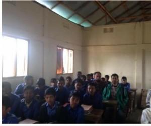 Pupils and Rotarian Julfiker Choudhury at Wahid School